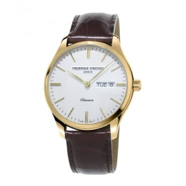 Classics Quartz Yellow Gold Day-Date Silver Dial Strap Watch