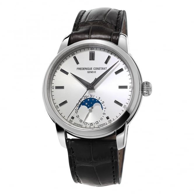 Frederique Constant Manufacture Classic Moonphase Automatic Silver Dial Strap Watch