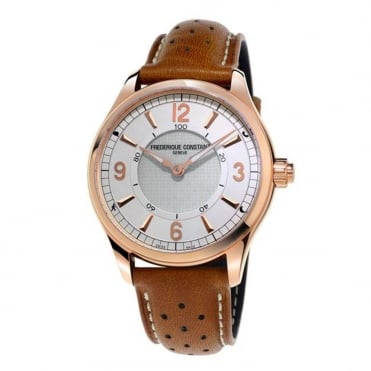 Frederique Constant Rose Gold Silver Dial Strap Horological Smartwatch
