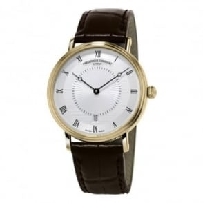 Frederique Constant Slimline Classics Yellow Gold Automatic Silver Dial Strap Watch