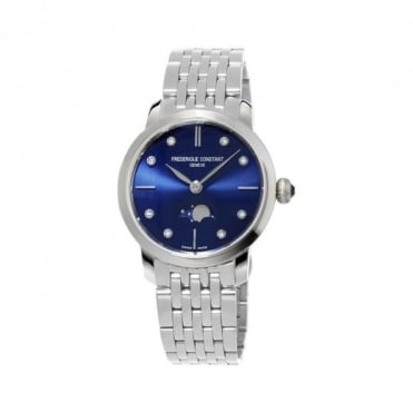 Frederique Constant Slimline Moonphase Diamond Dot / Blue Dial Bracelet Watch