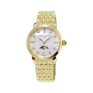 Frederique Constant Slimline Moonphase Yellow Gold Diamond Dot / Mother of Pearl Dial Bracelet Watch