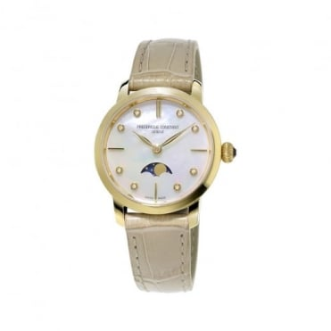 Frederique Constant Slimline Moonphase Yellow Gold Diamond Dot / Mother of Pearl Dial Strap Watch