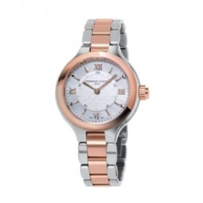 Frederique Constant Steel & Rose Gold Silver Dial Bracelet Horological Smartwatch