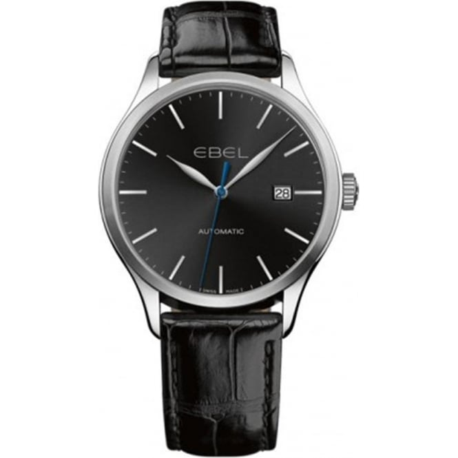 Ebel Gentlemen's Classic 100 Automatic Black Dial Strap Watch