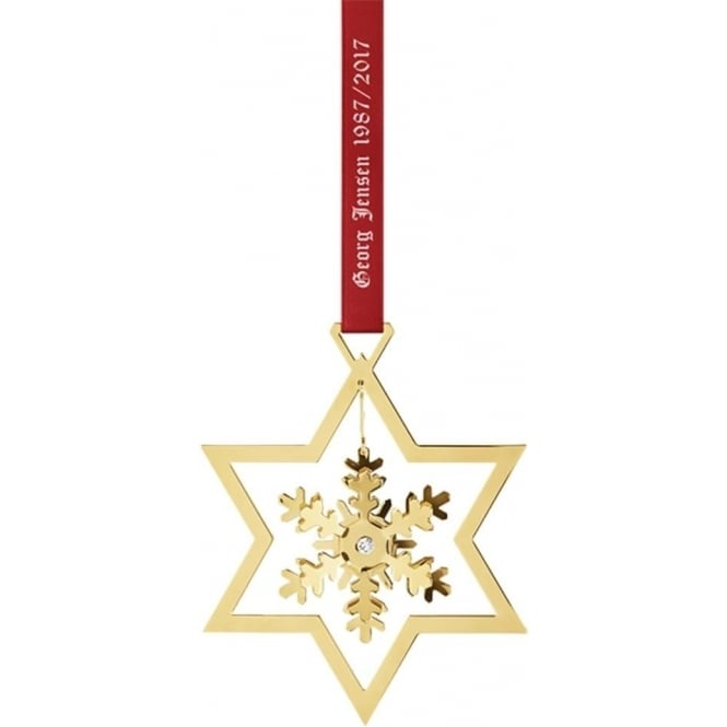 Georg Jensen 1987 - 2017 Christmas Collectibles Mobile Gold Plated Snowflake