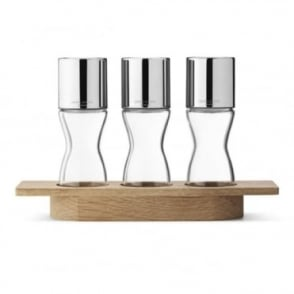 Georg Jensen Alfredo Herb Grinder Set with Oak Stand