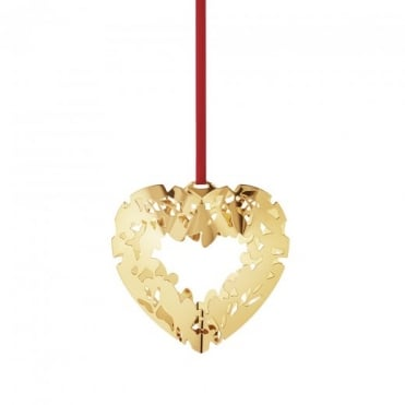 Georg Jensen Christmas Collectible 24ct Gold Plated Heart Bauble