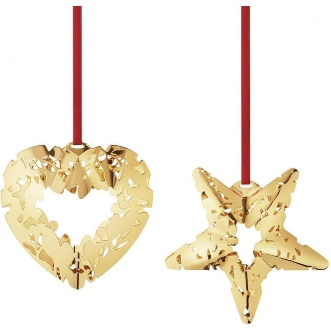 Georg Jensen Christmas Collectibles Gold Plated Heart & Star Bauble 2 Piece Set