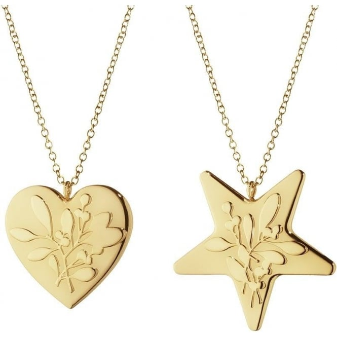 Georg Jensen Christmas Collectibles Gold Plated Heart & Star Hanging Ornament Set
