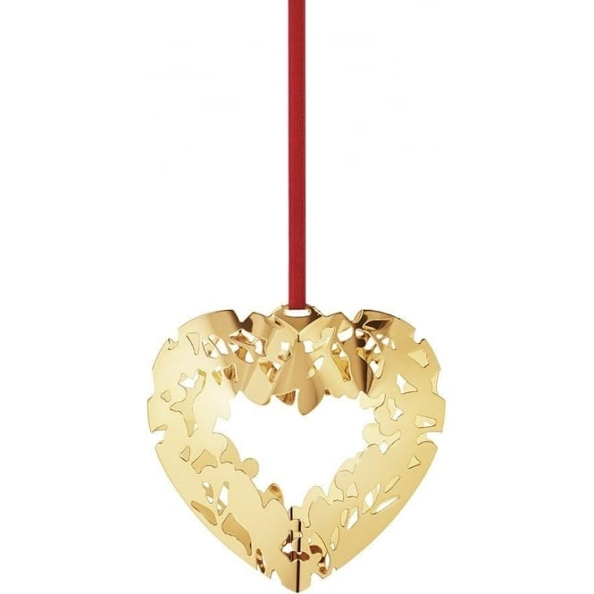 Georg Jensen Christmas Collectibles Holiday Gold Plated Ornament Heart Bauble