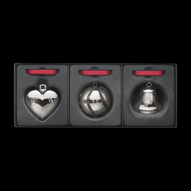 Georg Jensen Christmas Collectibles Palladium Heart, Bell & Ball - 3 Piece Set