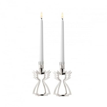 Georg Jensen Christmas Collectibles Palladium Plated Angel Candleholders