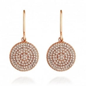 Astley Clarke Jewellery Icon 14ct Rose Gold Silver Grey Diamond Drop Earrings
