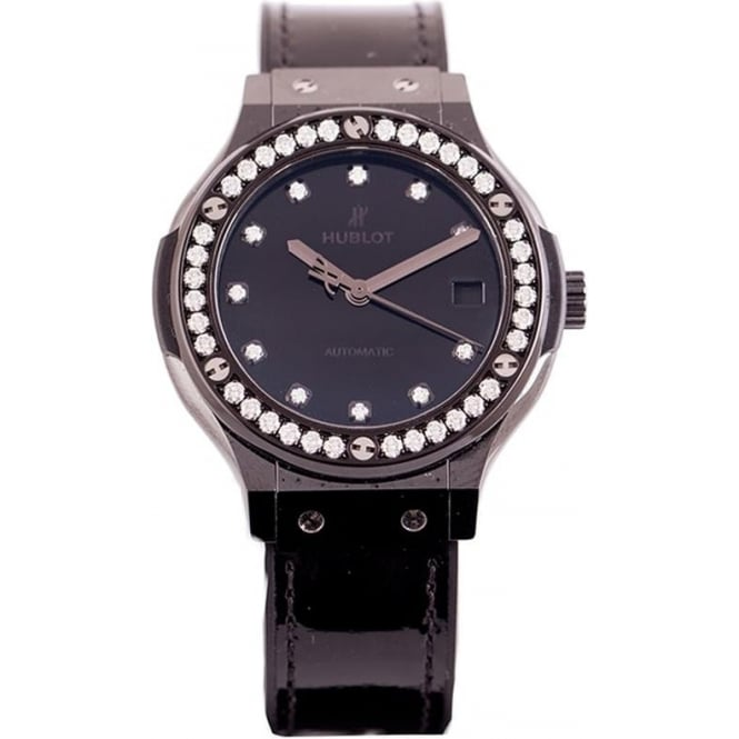 Pre-Owned Ladies HUBLOT Classic Fusion Diamond Bezel / Diamond Dot / Black Dial Strap Watch (RRP - £9500)