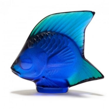 Lalique Blue Crystal Fish Figurine