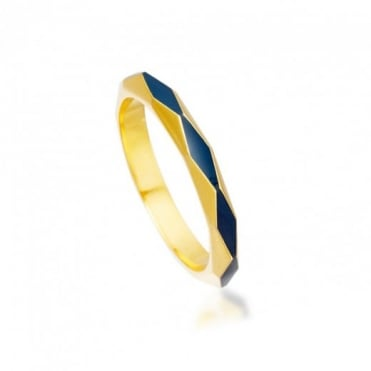 Astley Clarke Jewellery Midnight Faceted 18ct Yellow Gold Vermeil 3mm Ring