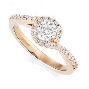 Owen & Robinson 18ct Rose Gold Halo Swirl Claw Set Diamond Ring, GIA Certified
