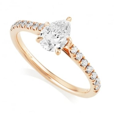 18ct Rose Gold Pear Claw Set Diamond Ring with Diamond Shoulders, GIA Certified
