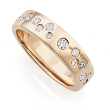 Owen & Robinson 18ct Rose Gold Scattered Diamond Ring