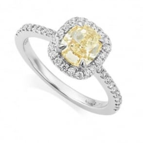 Owen & Robinson 18ct White Gold Halo Cushion Cut Fancy Yellow Diamond Ring