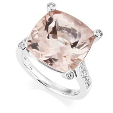 Owen & Robinson 18ct White Gold Morganite and Diamond Dress Ring