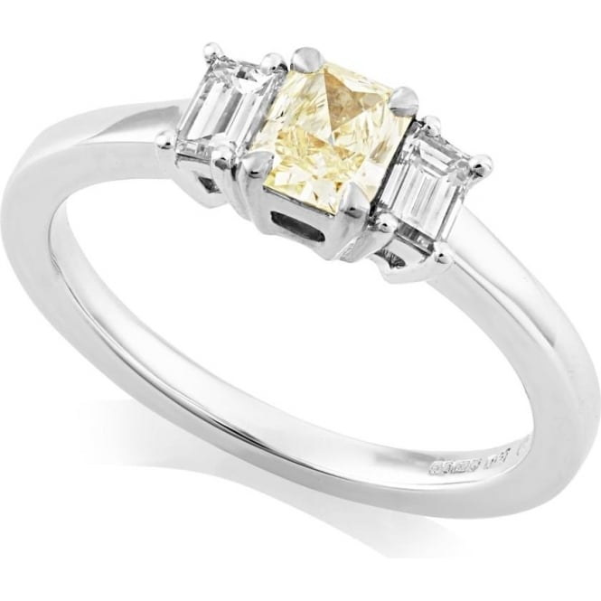 Owen & Robinson 18ct White Gold Radiant Yellow Diamond Three Stone Ring