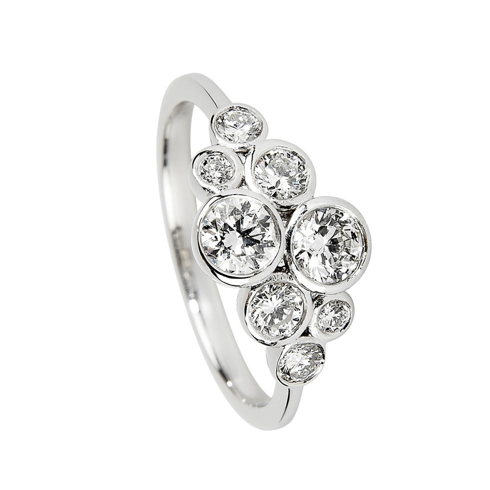 ring p stone diamond engagement brilliant in square platinum four