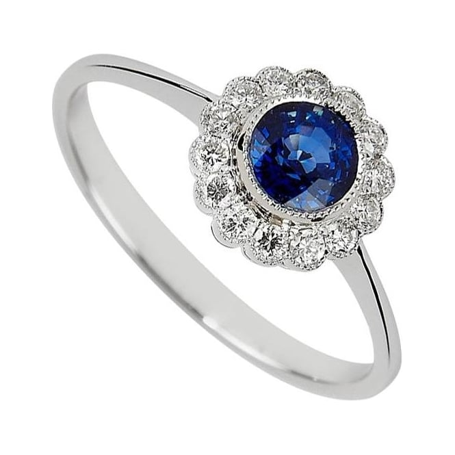 18ct White Gold Sapphire & Diamond Cluster Engagement Ring by Owen &