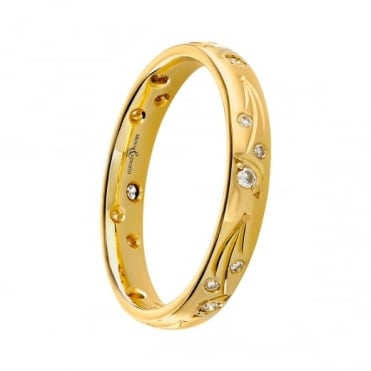 Owen & Robinson 18ct Yellow Gold Blossom Diamond Set Wedding Band
