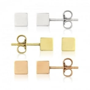 Owen & Robinson 9ct Rose, Yellow, White Gold Medium Cube Stud Earrings