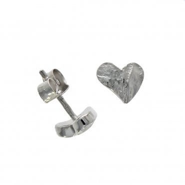 5caf72353 9ct White Gold Abstract Heart Satin Finish Stud Earrings
