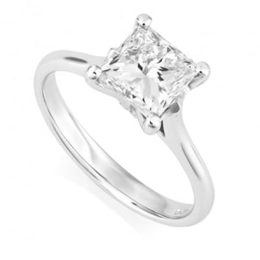GIA Certified Platinum Princess Cut Diamond Solitaire Ring, 1.50ct