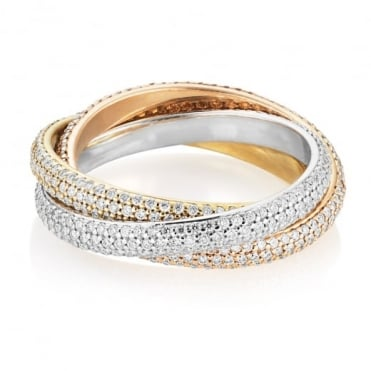 Interlinked 18ct Rose, Yellow and White Gold Pave Diamond Russian Ring