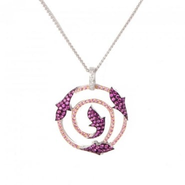 Owen & Robinson Pink Sapphire Ruby and Diamond Open Work Leaf Pendant