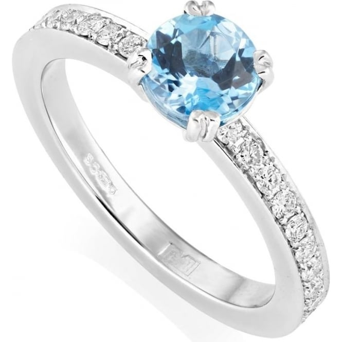 Owen & Robinson Platinum Blue Aquamarine & Diamond Shoulders Ring