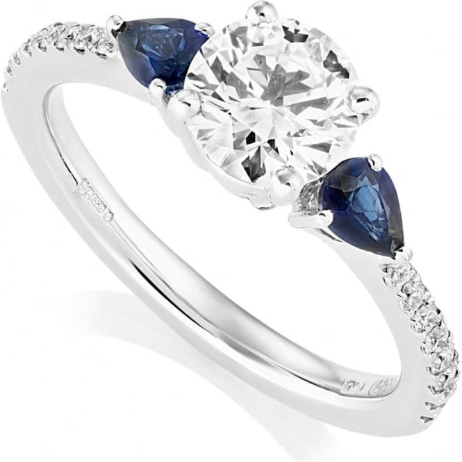Owen & Robinson Platinum Diamond and Sapphire Petal Three Stone Ring