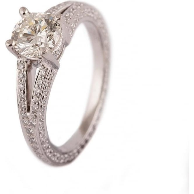 Owen & Robinson Platinum Full Diamond Round Brilliant Cut Ring with Shoulders