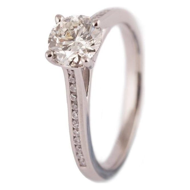 Owen & Robinson Platinum GIA Diamond Engagement ring with Diamond Shoulders
