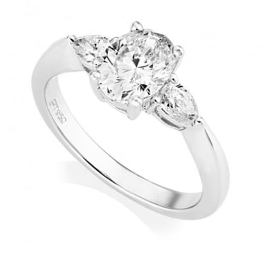 Platinum Oval and Pear Cut Diamond Claw Set Ring, GIA Certified