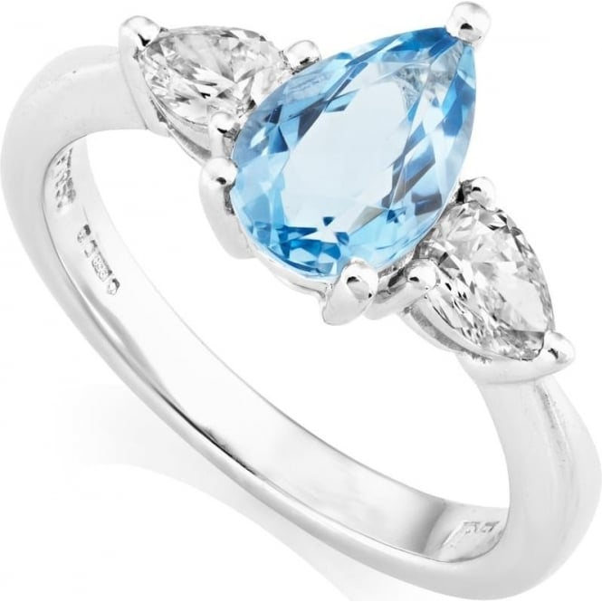 Owen & Robinson Platinum Pear Cut Aquamarine & Diamond Three Stone Ring