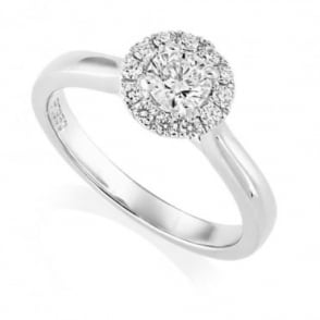 Owen & Robinson Platinum Round Brilliant Diamond Halo Cluster Claw Set Ring, GIA Certified