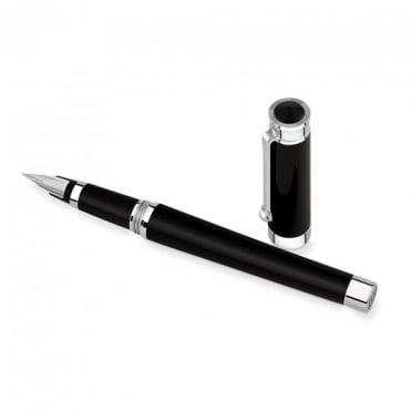 Montegrappa Parola Fountain Pen - Palladium & Black Resin