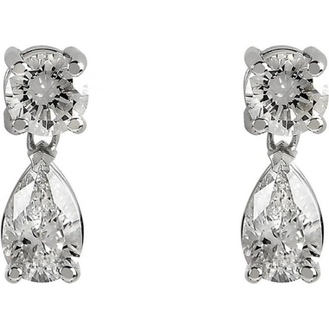 Pear Round Brilliant Diamond 18ct White Gold Drop Earrings By Owen