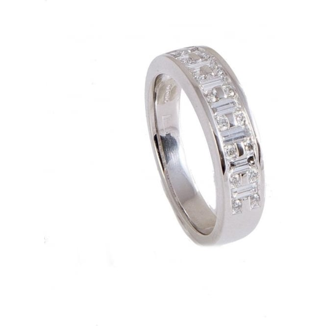 Owen & Robinson Platinum Baguette and Brilliant Round Cut Diamond Dress Ring