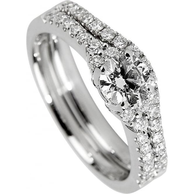 Owen & Robinson Platinum Diamond Fancy Solitaire Engagement Ring & Matching Wedding Ring