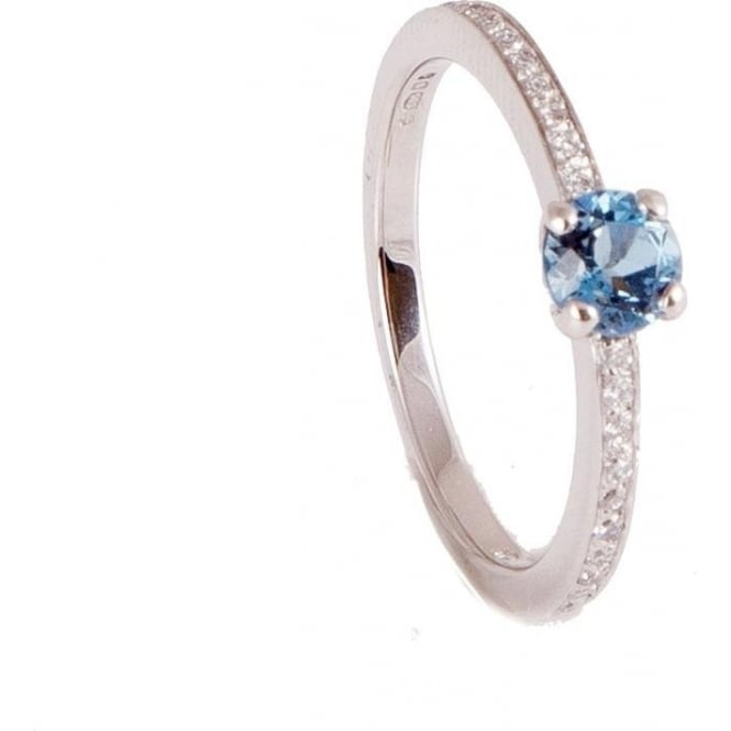 Owen & Robinson Platinum Engagement Ring with Aquamarine and Diamond Shoulders