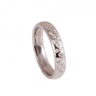 Owen & Robinson Platinum Nineteen Stone Scattered Diamond Wedding Band