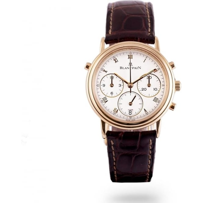 Pre-Owned Blancpain 18K Yellow Gold Villeret Split-Seconds Chronograph White Dial Strap Watch (RRP - £12,500)