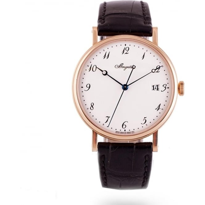 Pre-Owned Breguet 18K Rose Gold Classique White Enamel Dial Strap Watch (RRP - £16,600)